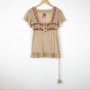 Free People | Embroidered Short Sleeve Top | 8